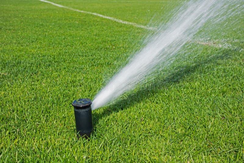 Système d'irrigation automatique pour les pelouses et l'herbe verte photographie stock libre de droits