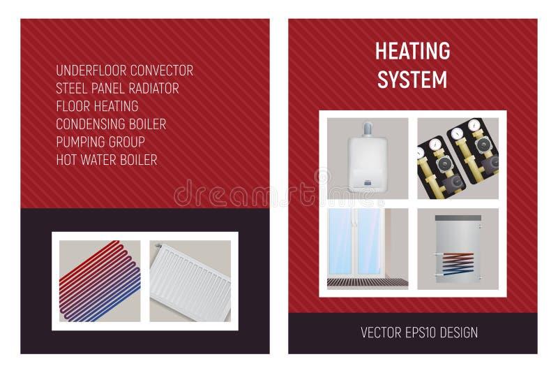 Système de chauffage Trench le convecteur, unité de pompe, chaudière, radiateur en acier de panneau, chauffage par le sol illustration libre de droits