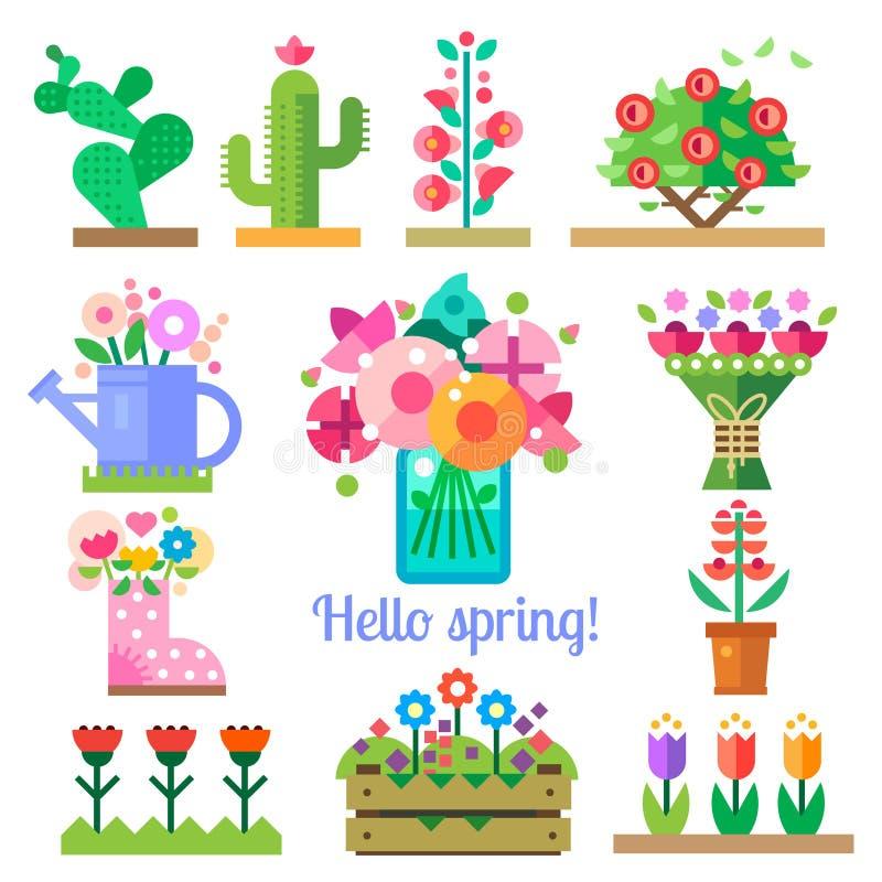 Système de fleur Bonjour ressort et été illustration stock