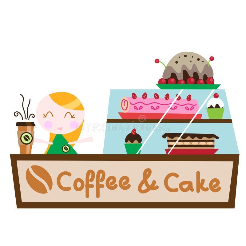 Système de gâteau de café illustration stock