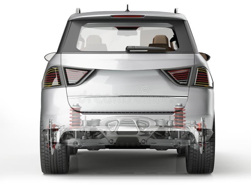 Système de la suspension d'arrière de Suv dans l'effet de fantôme Vue arrière illustration de vecteur