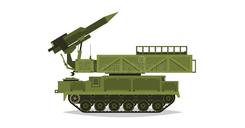 Système de missiles antiaérien Rocket et coquilles Équipement militaire spécial Attaque aérienne Tout le véhicule de terrain, véh illustration libre de droits