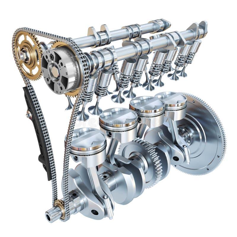 Système de moteur à combustion interne d'isolement sur le backgroun blanc illustration de vecteur