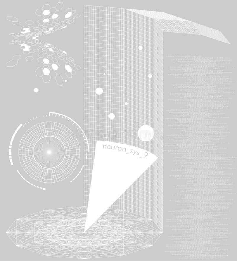 Système 9 de neurone illustration de vecteur