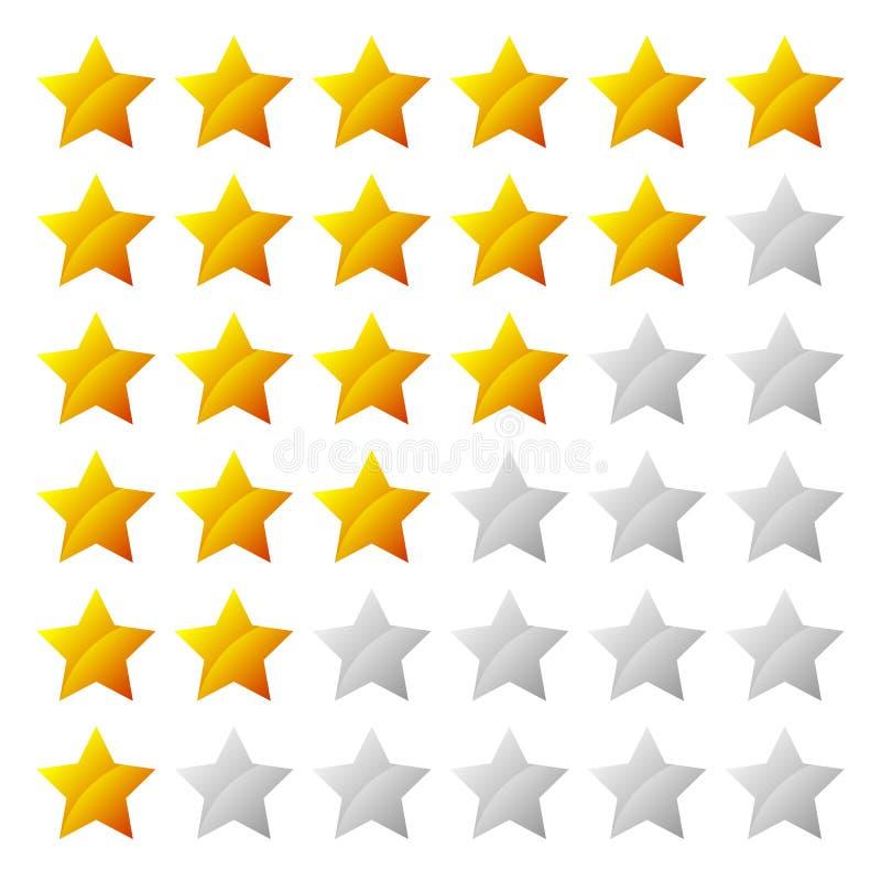 Système de notation simple d'étoile avec la forme de 6 étoiles illustration stock