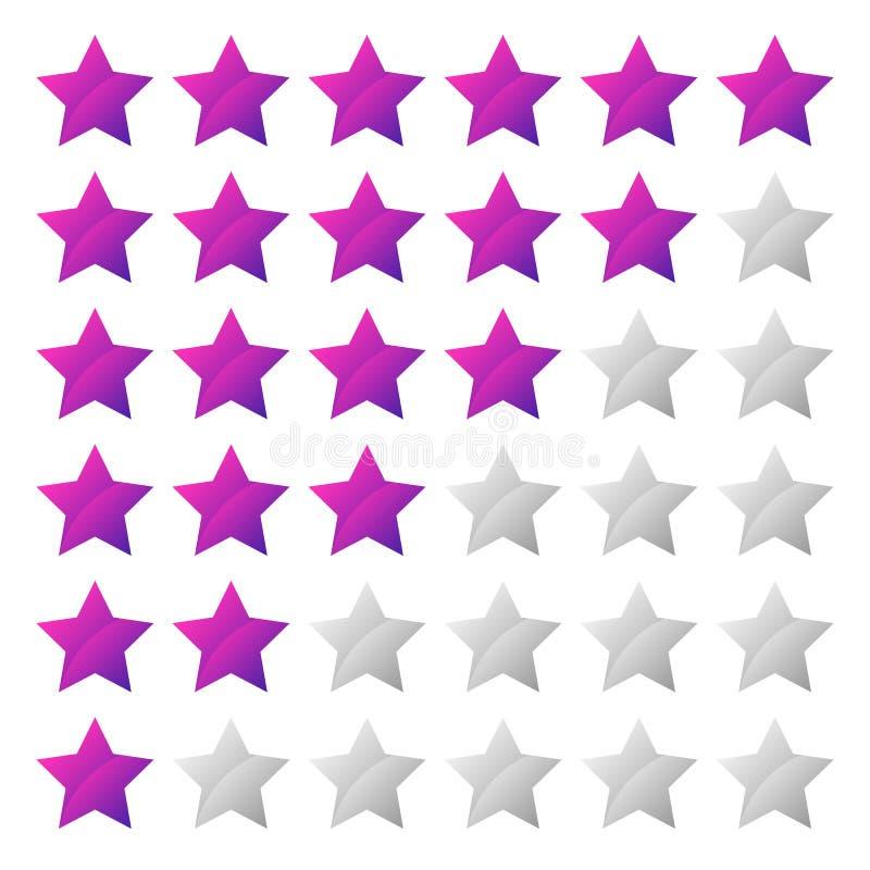 Système de notation simple d'étoile avec la forme de 6 étoiles illustration libre de droits