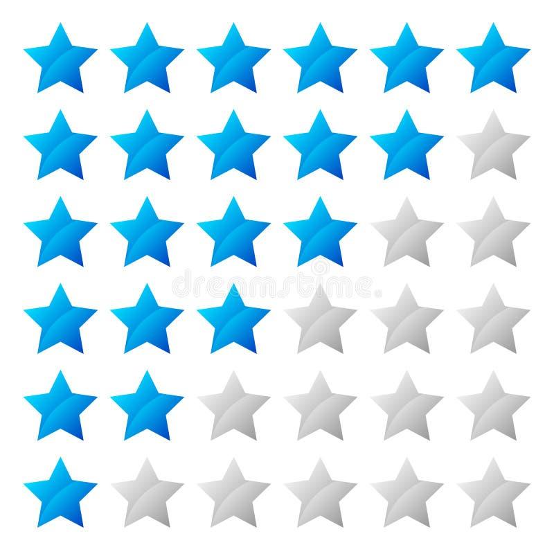 Système de notation simple d'étoile avec la forme de 6 étoiles illustration de vecteur