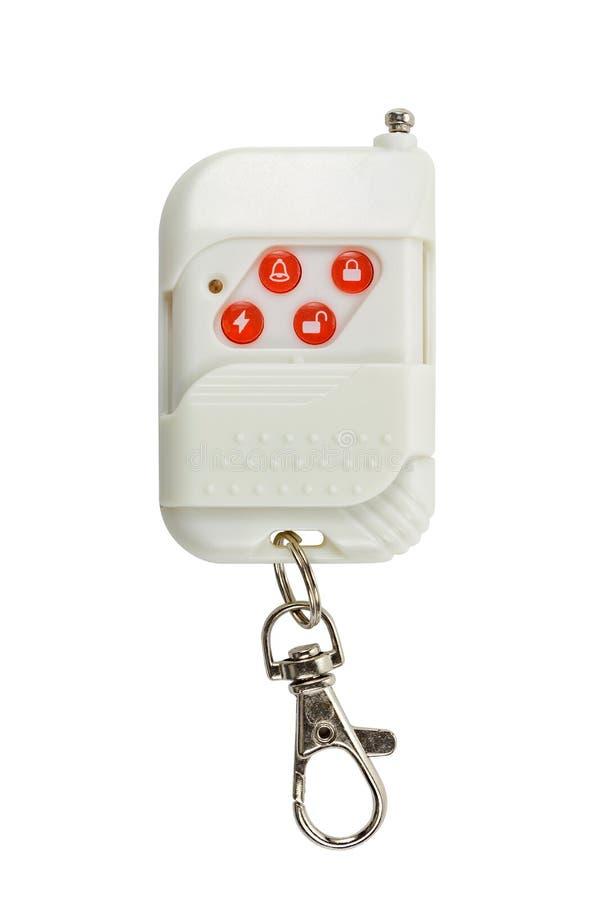 Système de sécurité à télécommande avec le carabiner d'isolement sur un fond blanc photo libre de droits