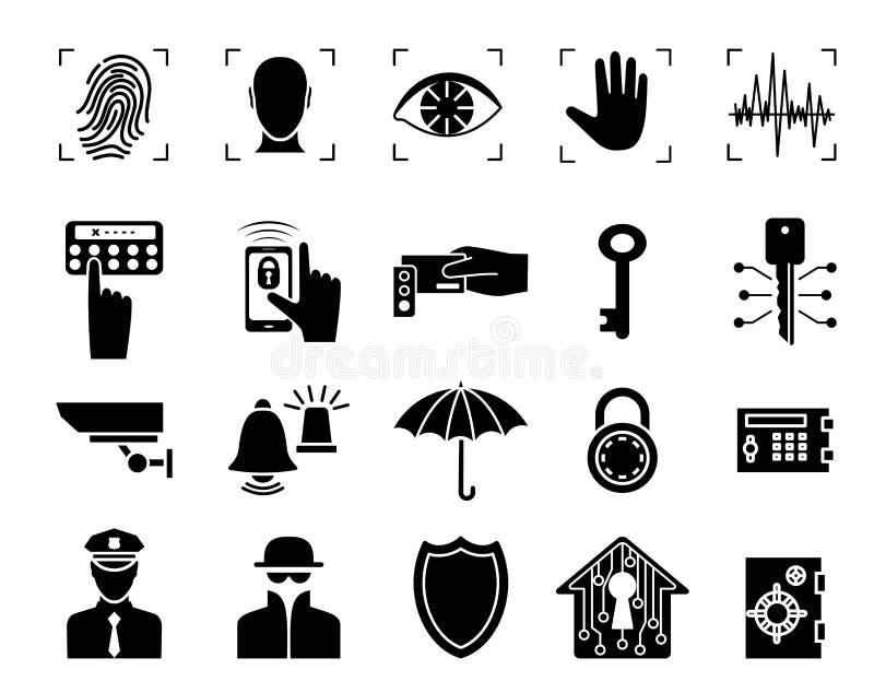 Système de sécurité Placez les graphismes Silhouette noire illustration libre de droits