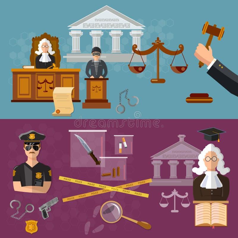 Système de salle d'audience de bannière de justice le défendeur et le juge illustration stock