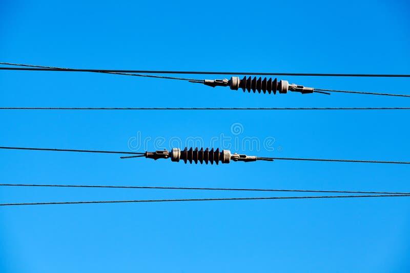 Système de traction électrique aérien de train image libre de droits