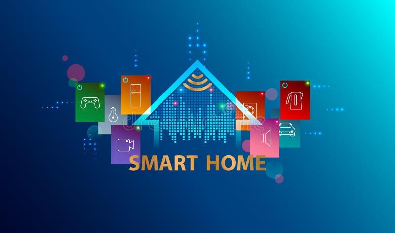 Système domestique intelligent Internet de concept de choses Fond futé de technologie illustration de vecteur