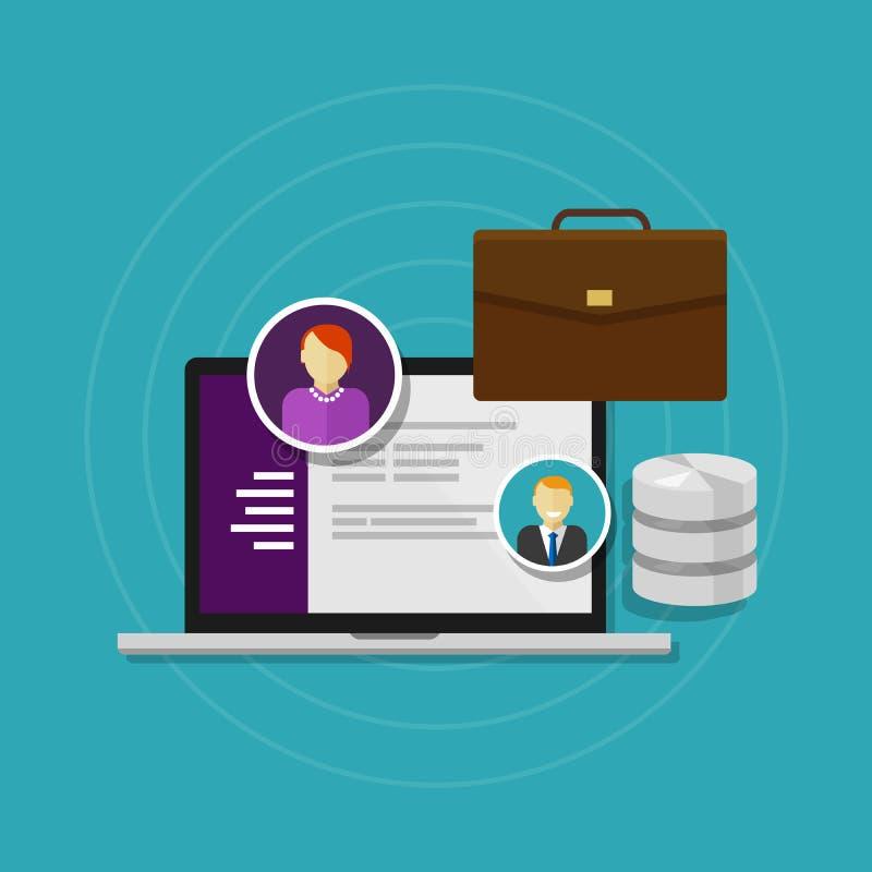 Système logiciel de ressource humaine de base de données des employés illustration de vecteur