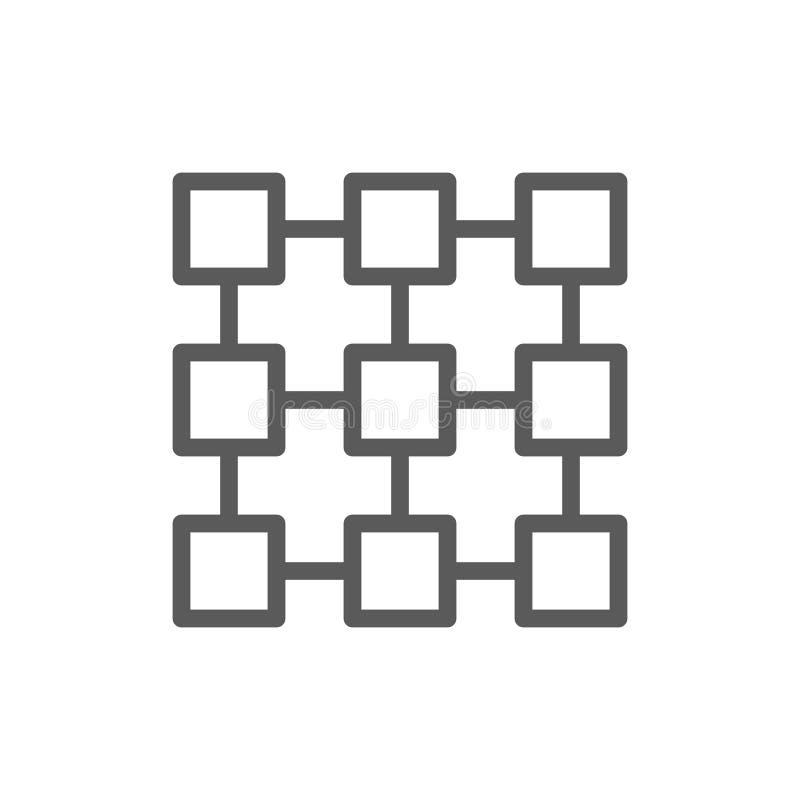 Système relié ensemble de Matrix, technologie de blockchain, ligne à chaînes icône de bloc illustration stock