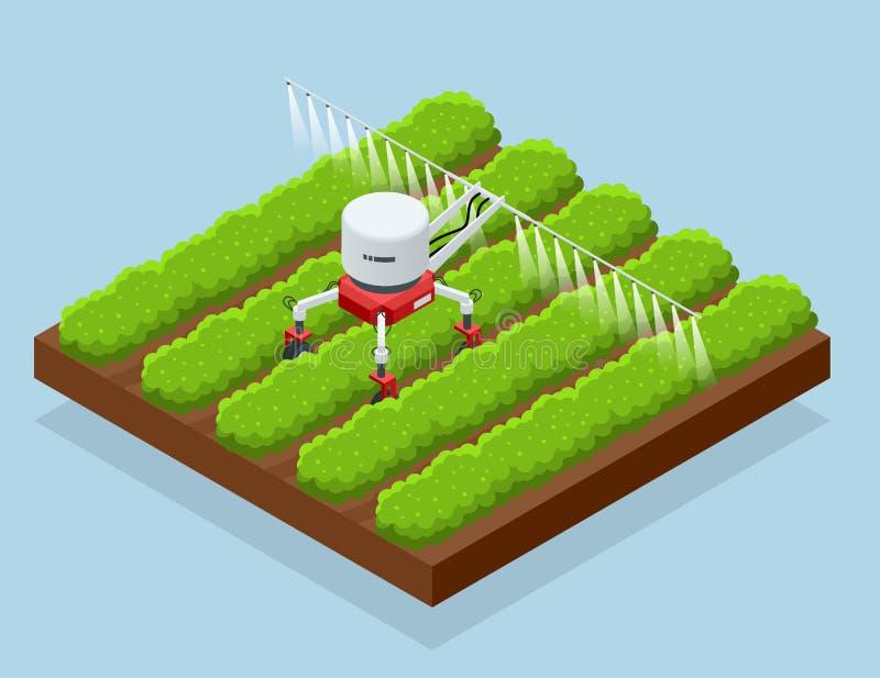 Système robotique futé d'irrigational isométrique sur le champ Agriculture automatisée, technologie Les agriculteurs de robot ont illustration libre de droits