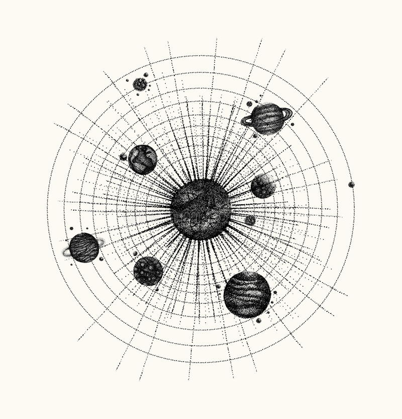 Système solaire dans le style de dotwork planètes en orbite cru illustration stock