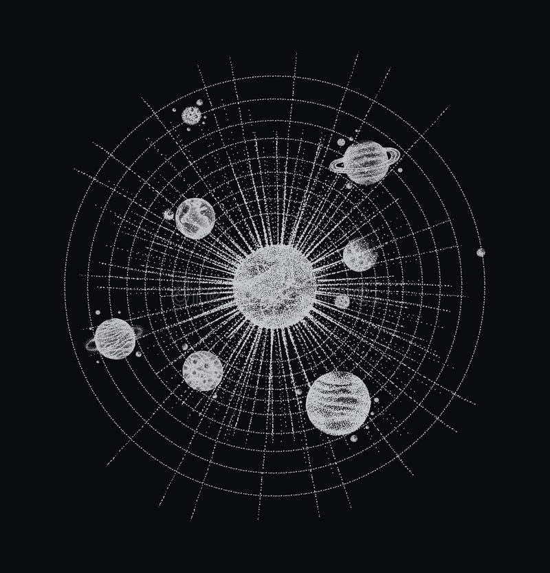 Système solaire dans le style de dotwork planètes en orbite Illustration tirée par la main de vintage illustration de vecteur