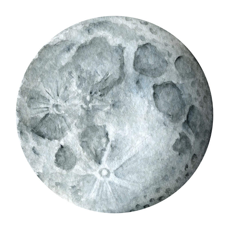 Système solaire - satellite de terre - lune Illustration d'aquarelle photographie stock libre de droits