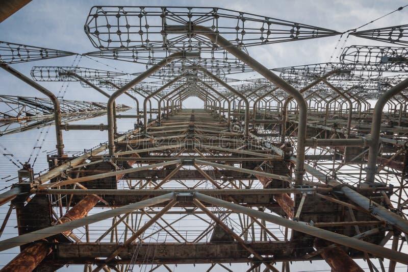 Système soviétique du radar Duga-3 dans la zone de centrale nucléaire de Chernobyl images stock