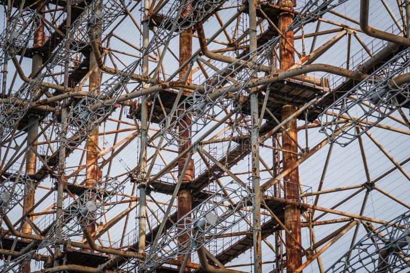Système soviétique du radar Duga-3 dans la zone de centrale nucléaire de Chernobyl images libres de droits