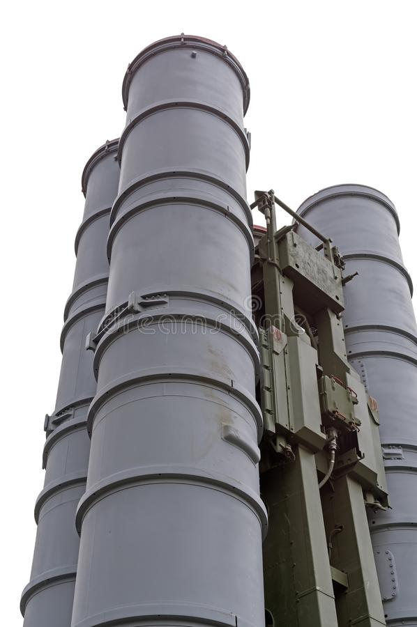 Syst?mes de missiles russes S-300 contre le blanc photo stock