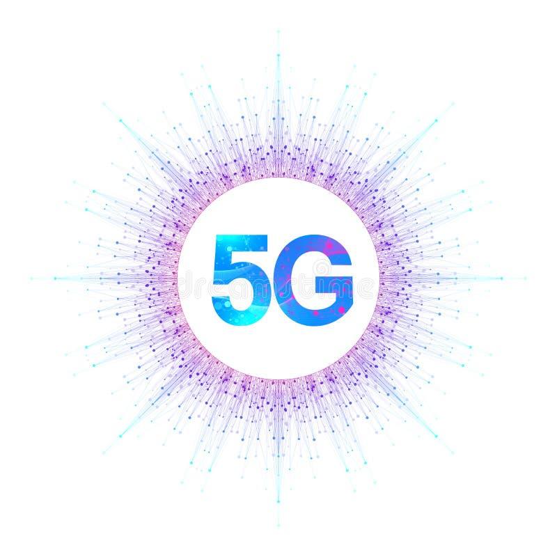 systèmes sans fil de réseau 5G et illustration de vecteur d'Internet Le réseau de transmission Bannière de concept d'affaires art illustration stock