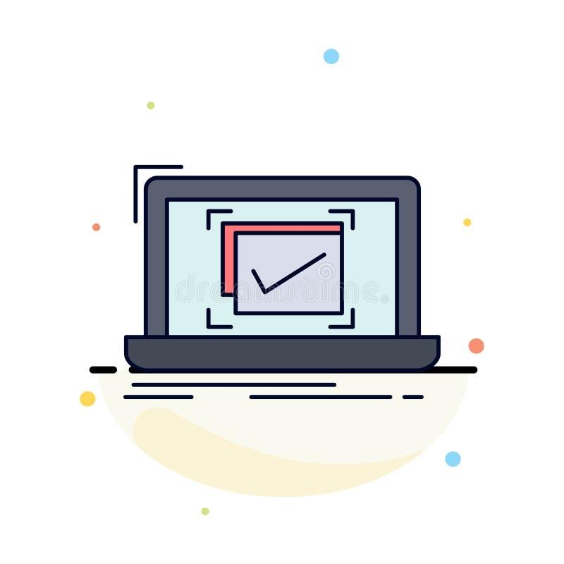 systeem, controle, controlelijst, de Goede, O.K. Vlakke Vector van het Kleurenpictogram stock illustratie