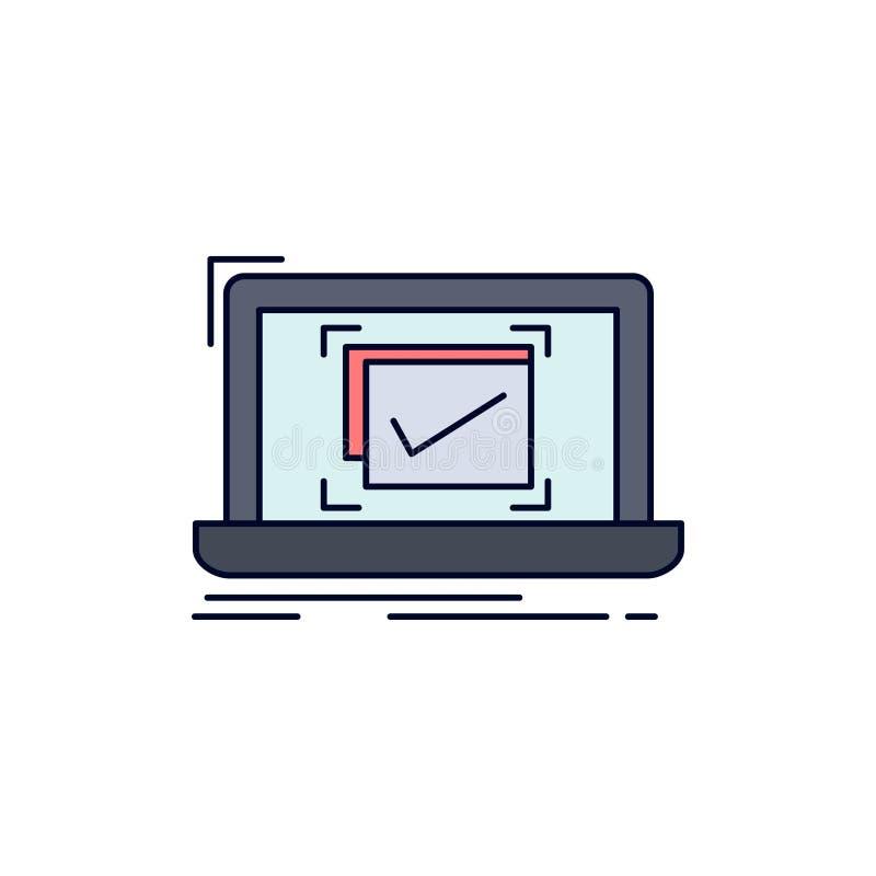 systeem, controle, controlelijst, de Goede, O.K. Vlakke Vector van het Kleurenpictogram royalty-vrije illustratie