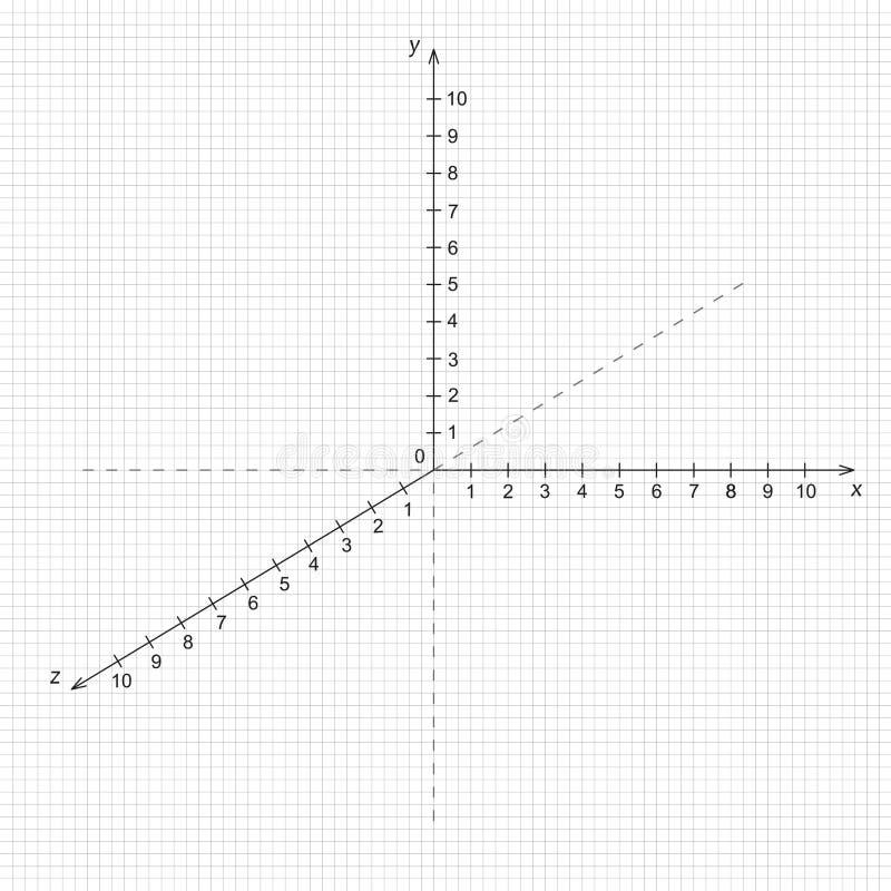 Systeem met drie assen van coördinaat op het net vector illustratie