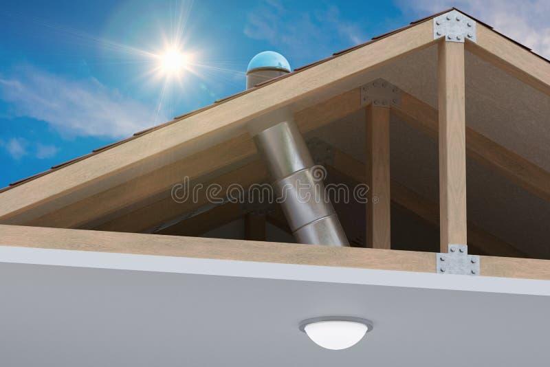 Systeem van de Sunlite het lichte buis om natuurlijk daglicht van dak in ruimte te vervoeren 3D teruggegeven illustratie stock foto's
