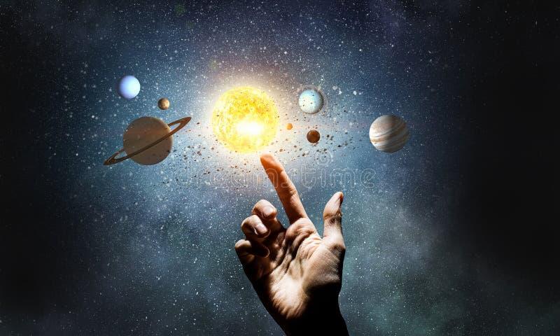 Systeem van planeten Gemengde media stock afbeeldingen