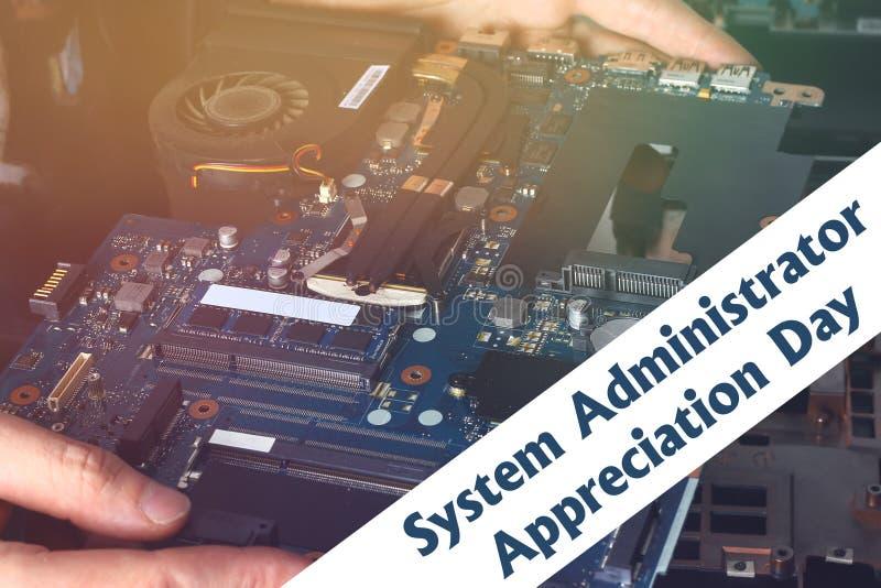 Systeembeheerder Appreciation Day Prentbriefkaar voor de vakantie De kerel bevestigt laptop royalty-vrije stock foto's