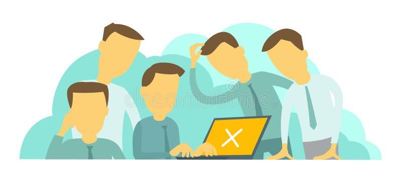 Systeemfout in laptop Moeilijke situatie op het werk Bedrijf van vijf mensengroepswerk vector illustratie