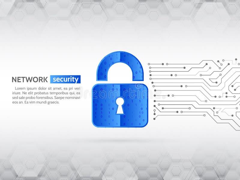 Systeemprivacy, netwerkbeveiliging Abstracte high-tech kringsraad vector illustratie