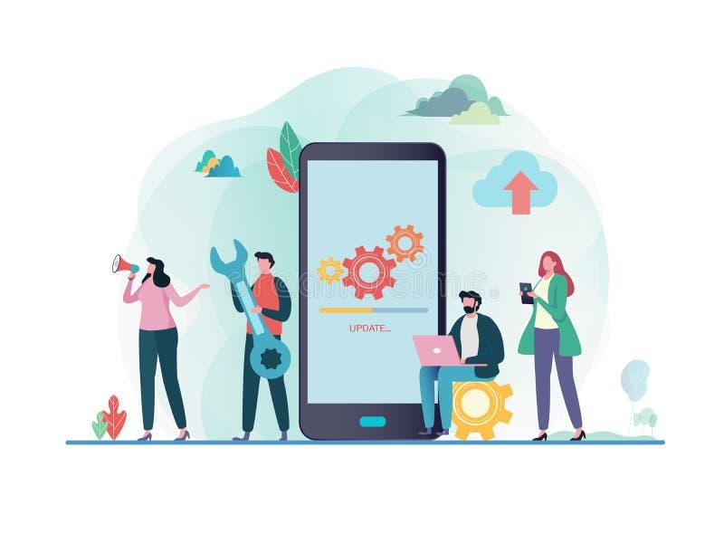 Systeemupdates met mensen die verrichting in gegevensverwerking en installatie programma's bijwerken Mobiele Toepassing Vlakke ve vector illustratie