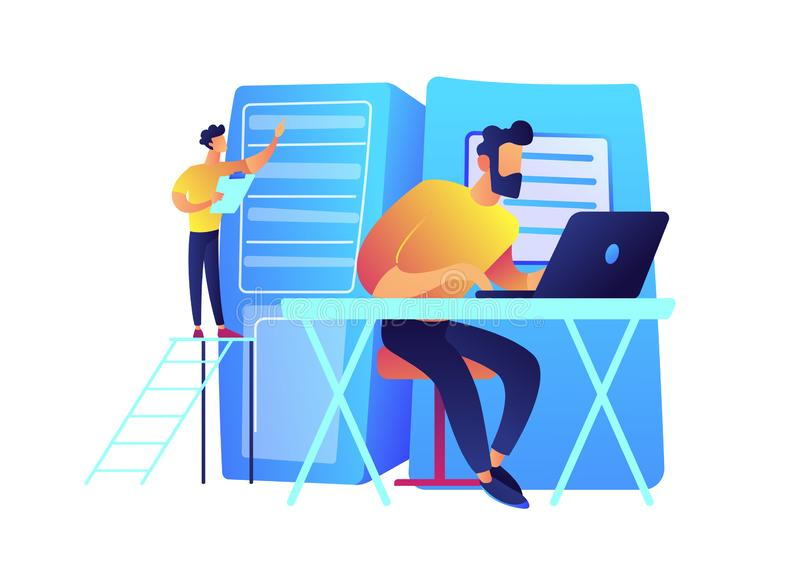 System administrator working on laptop and server racks vector illustration. stock illustration