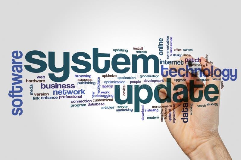 System aktualizaci słowa chmura zdjęcie royalty free