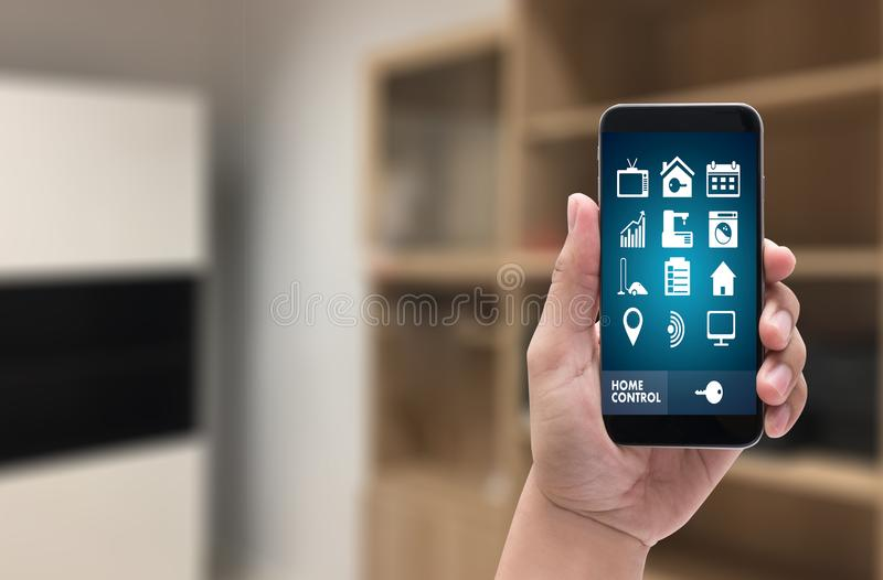 System app Remote home control system on phone Real estate concept stock image