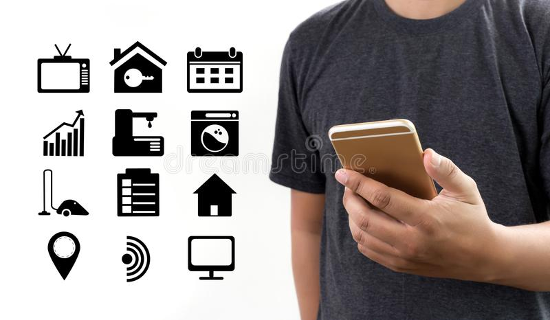 System app Remote home control system on phone Real estate concept royalty free stock photo
