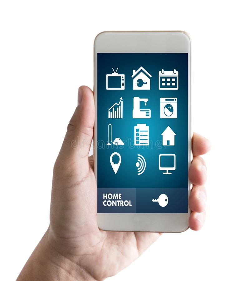 System app Remote home control system on phone Real estate concept royalty free stock images