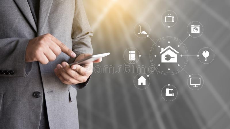 System app Remote home control system on phone Real estate concept royalty free stock photography
