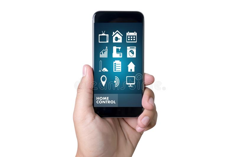 System app Remote home control system on phone Real estate concept royalty free stock photos