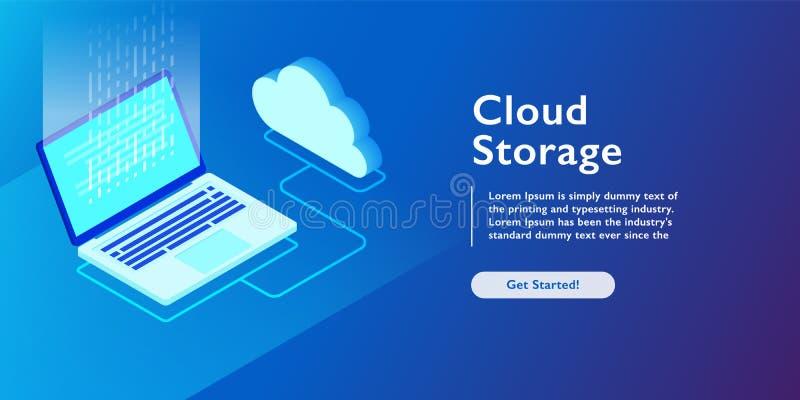 System av molnlagring, bärbar dator som laddar upp data, isometrisk vektorillustration för reserv- information stock illustrationer