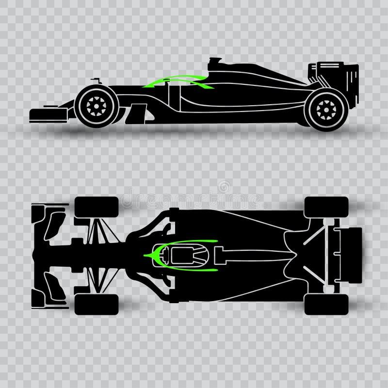 System av pilot- försvar av en sportbil, mörk kontur av en tävlings- bil som isoleras på rutig bakgrund Bästa sikt och vektor illustrationer