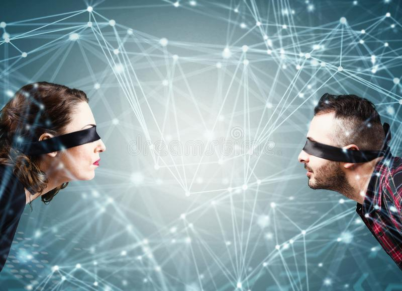 System av sammankopplingen av det sociala n?tverket arkivfoton