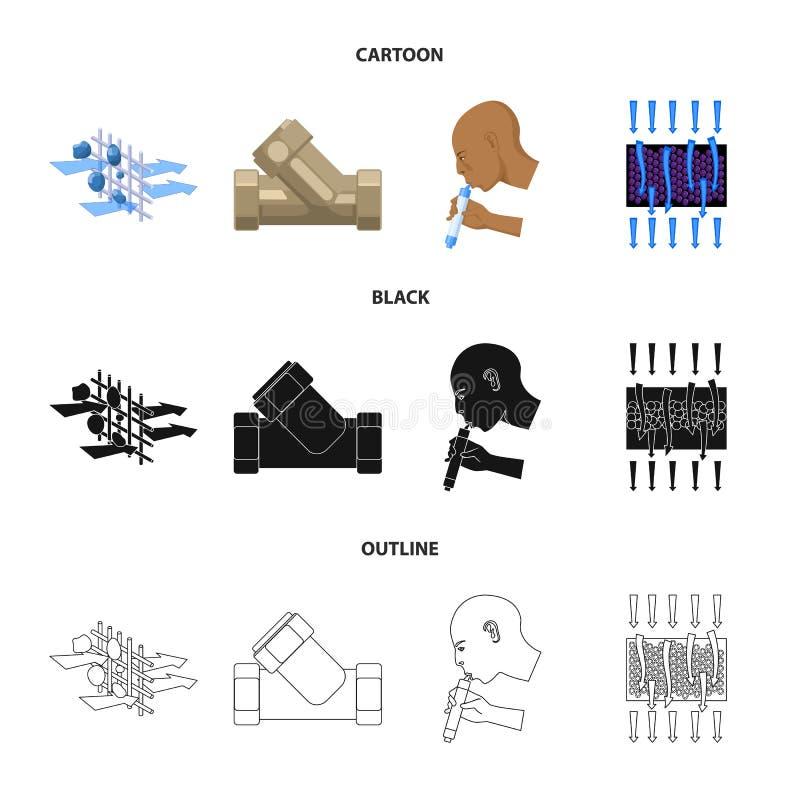 System, balon, ręka, próba Wodnego filtracyjnego systemu ustalone inkasowe ikony w kreskówce, czerń, konturu stylowy wektorowy sy ilustracji