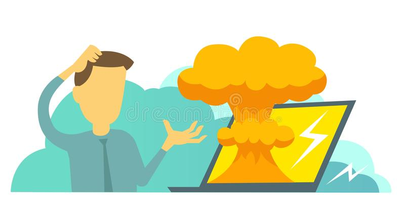 System error in laptop epic fail. Atomic bomb explosion nuclear, Man manager programmer and bug in the computer. System error in laptop epic fail. Atomic bomb royalty free illustration