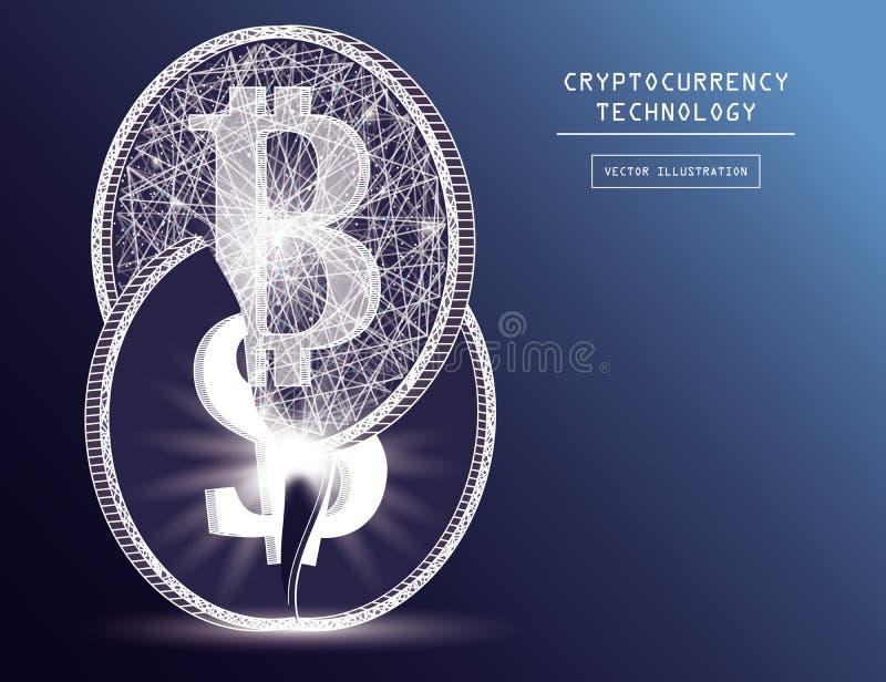 System för finans för värld för skada för Bitcoin digitalt valutamynt som baseras på illustration för dollarbegreppsvektor vektor illustrationer