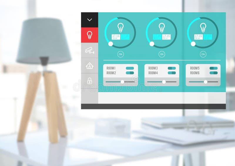System för hem- automation som tänder App-manöverenheten royaltyfri illustrationer