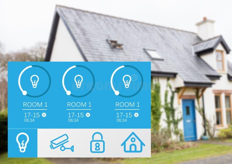 System för hem- automation som tänder App-manöverenheten royaltyfri bild